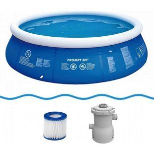 Jilong Marin Blue Rundpool Set Ø360x84cm Quick-Up Swimming Pool Fast-Set inkl. Pumpe Filterkartusche