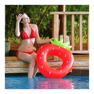 Jilong Strawberry Ring XL Schwimmring Wasserspielzeug aufblasbarer Poolsessel Erdbeere 92x67x25cm