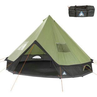 10T Campingzelt Mojave 400 Beechnut XXL Tipi Zelt wasserdichtes 4-8 Mann Rundzelt Indianerzelt Ø 4m
