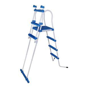Blueborn Poolleiter SPL122 Pool Sicherheitsleiter Schwimmbad Einstieg Leiter Treppe 122 cm Wandhöhe