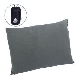 10T Deluxe Pillow Grau 40x30x10 cm Fleece Kissen Reisekissen Kopfkissen Nackenkissen mit Packsack