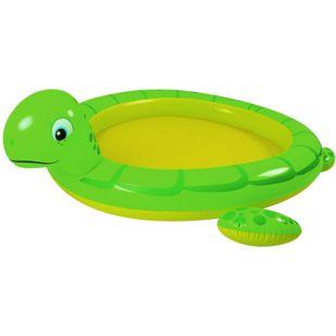 Blueborn Turtle Spray Pool 215x189 cm Kinderpool mit Sprüher Planschbecken Gartenschlauch-Anschluss