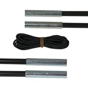 10T SPK Zeltstange Ø7,9 x 650mm Reparatur Set 4 Stk Fiberglasstange + 5m Stangengummi Zeltgestänge