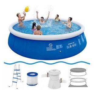 Jilong Marin Blue Pool Set 540x122 cm Quick-Up Swimming Pool mit Pumpe Leiter Abdeckplane Bodenplane