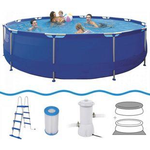 Jilong Sirocco Pool Set Ø 540x122cm Schwimmbad Schwimmbecken Pumpe Leiter Abdeckplane Bodenplane