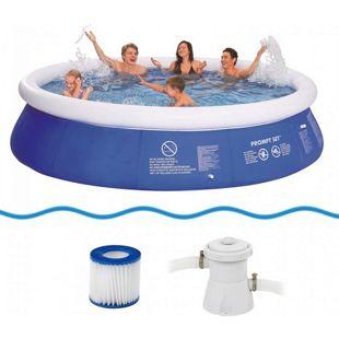 Jilong Marin Blue Pool Set Ø 360x76 cm Fast-Set Quick-Up Swimming Pool inkl. Pumpe Filter-Kartusche