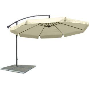 JOM Ampelschirm, Sonnenschirm mit 300 cm Durchmesser in beige, Material Polyester 160G, wasserabweisend, Metallstreben, Neigungswinkel verstellbar, mit Kurbelsystem