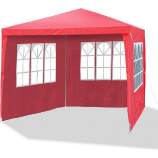 JOM Gartenpavillon 3 x 3 m himbeer rot, Allzweckzelt, Pavillon, Pavillion, Partyzelt, Festzelt, Gartenzelt, 3x Seitenwände mit Fenster und 1x Eingang mit Reißverschluss