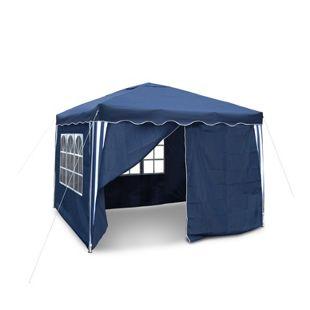 JOM Gartenpavillon, wasserdicht, 3 x 3 m, Falt-Pavillon Nordsee III, Material Oxford 200D innen beschichtet, blau mit Seitenwänden und Tasche