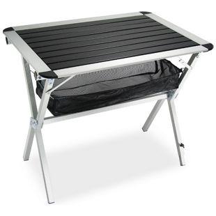 JOM Klapptisch, Rolltisch, Campingtisch aus Aluminium 80 x 59 x 69 cm, alu-silber/ schwarz, Klapptisch mit Tragetasche