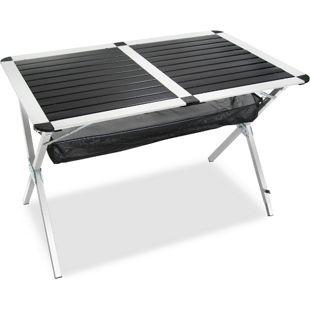 JOM Klapptisch, Rolltisch, Campingtisch aus Aluminium 111 x 71 x 70 cm, alu-silber/ schwarz, Klapptisch mit Tragetasche