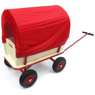 JOM Bollerwagen, Transportwagen Handwagen Wagen aus Holz mit Metallrahmen und Plane rot