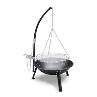 JOM Schwenkgrill mit Feuerschale, Galgen und Kurbelmechanik, 59 cm Schale, Grillfläche 47 cm, schwarz, Grillrost verchromt