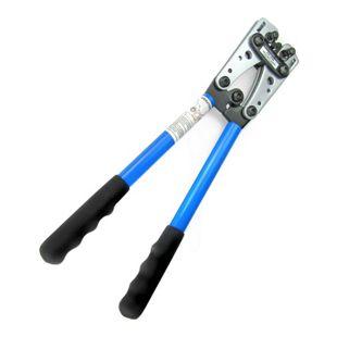 JOM Crimpzange, Kabelschuhzange Kabelschuhe Presszange gross aus Stahl mit rutschfesten Griffen und drehbarem Revolver-Crimpeinsatz für 6 - 10 - 16 - 25 - 35 - 50  mm²