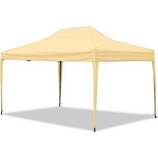 JOM Gartenpavillon, wasserdicht, 3 x 4,5 m, Falt-Pavillon Mallorca, Material Oxford 420D innen beschichtet, beige