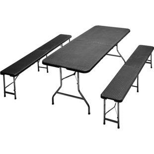 JOM Bierzeltgarnitur, Frühstücks Garnitur, Camping-Set, Esstisch klappbar, Rattan-Optik,1 Tisch 2 Bänke mit Metallgestell pulverbeschichtet, mit Klappfunktion und Tragegriffen