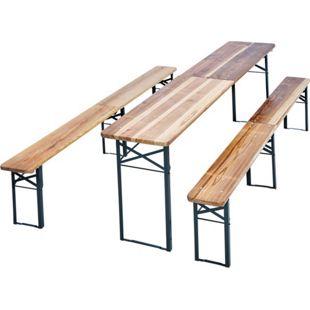 JOM Bierzeltgarnitur, 1 x Tisch/ 2 x Bänke, Maße: Tisch 220x50x76,5cm, Bank 220x25x46,5 cm, Material: Tannen Holz, Stahl Pulverbeschichtet, mit Klappfunktion