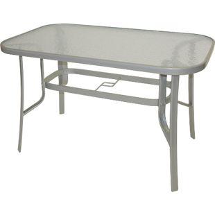 DEGAMO Gartentisch 120x70cm, Metall grau + Glas