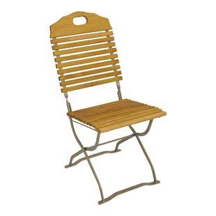 DEGAMO Kurgarten- Stuhl BAD TÖLZ, Flachstahl verzinkt + Robinie, klappbar, 2 Stück