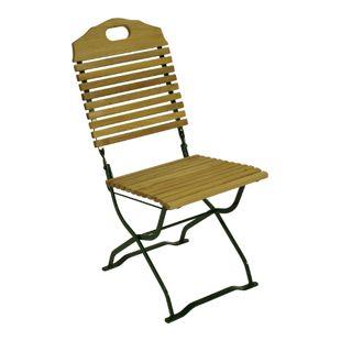 DEGAMO Kurgarten- Stuhl BAD TÖLZ, Flachstahl grün + Robinie, klappbar, 2 Stück