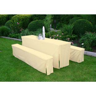 DEGAMO Hussen-Set für Festzeltgarnitur mit 70cm-Tisch, gepolstert, creme