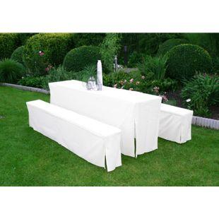 DEGAMO Hussen-Set für Festzeltgarnitur mit 70cm-Tisch, gepolstert, weiss