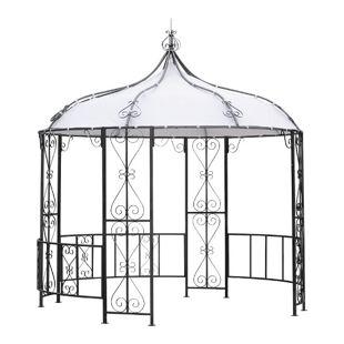 DEGAMO Pavillon BURMA 300cm rund,  Stahl grau, Plane PVC-beschichtet weiss