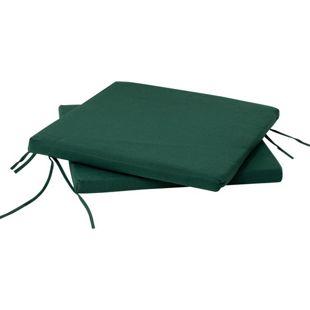 DEGAMO Sitzkissen dunkelgrün für Gartenstuhl, 41x40cm, 2 Stück