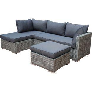 DEGAMO Lounge - Set VILETTA, Aluminium + Polyrattan hellgrau, Polster dunkelgrau