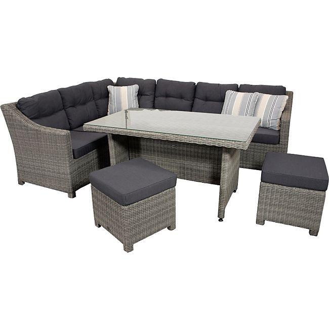 gartenmoebel-einkauf Dining Set ARETA, Aluminium + Polyrattan grau ...