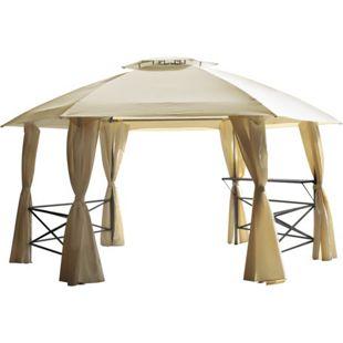 DEGAMO Pavillon LIMA 6-eckig, Stahl grau, Plane PVC-beschichtet écru mit Seitenplanen