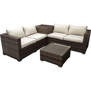 DEGAMO Lounge Set CAVOLI, Aluminium + Polyrattan grau/brau, Polster hell, mit Kissenbox