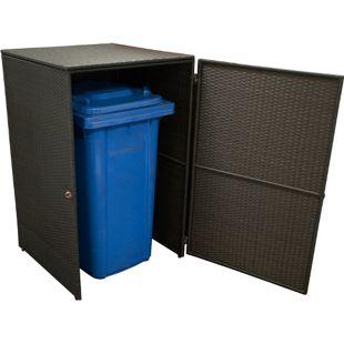 DEGAMO Mülltonnenbox für große Mülltonnen 240 Liter, 77x77x124cm, Rattan braun