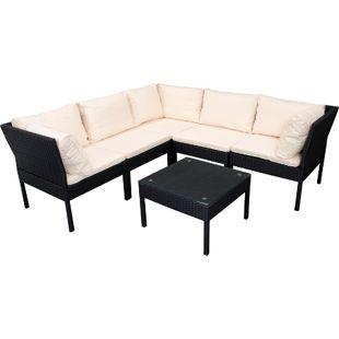 DEGAMO Lounge - Set  CATANIA, Stahl + Polyrattan schwarz, Polster creme