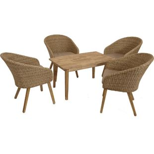 "DEGAMO Lounge Garnitur VALLETTA 5-teilig, Geflecht + Akazien Holz ""Brushed Wash"""