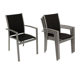 DEGAMO Stapelsessel RIVERA,  Aluminium + Kunstgewebe gespoltert schwarz, 4 Stück