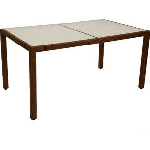 DEGAMO Tisch MONTREUX 150x90cm, Metall + Gefllecht braun, Tischplatte Glas