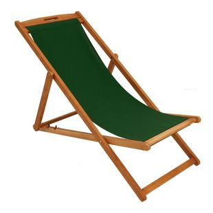 DEGAMO Liegestuhl PLAYA Eukalyptus + Textilbezug dunkelgrün