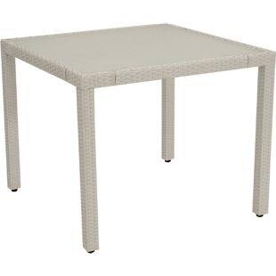 DEGAMO Tisch VIGO 90x90cm, Metall + Gefllecht weiss, Tischplatte Glas