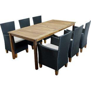DEGAMO Garnitur CARTAGO 7-teilig, Geflecht schwarz + Akazien Holz, Tisch 90x200cm