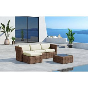 Baidani Rundrattan Garten Lounge Grace inkl. 2. Bezugsgarnitur
