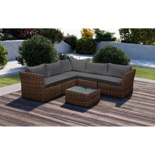 Baidani Rundrattan Garten Lounge Bayside inkl. 2. Bezugsgarnitur