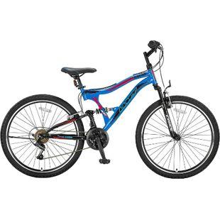 24 Zoll Jungen Fully Mountainbike 21 Gang Hoopfietsen Albatros... blau-rot