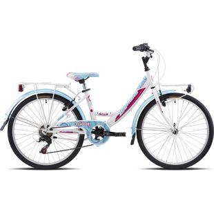 24 Zoll Mädchen Fahrrad Legnano Fantasy 6 Gang... weiß-blau