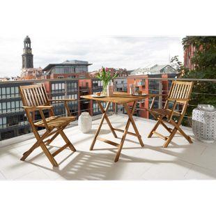 SAM® Balkonmöbel Set 3tlg Akazie Klapptisch 62 x 62 cm CAMERON