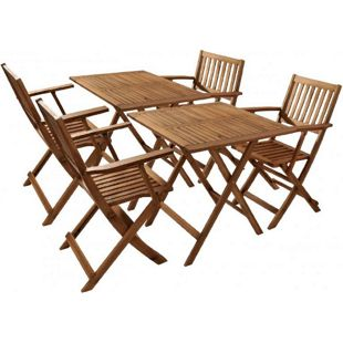 SAM® Balkonmöbel Set Akazie 6tlg. 2 Balkontische klappbar CAMERON