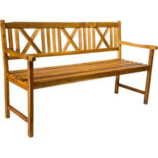 Gartenbank Akazie massiv 150 cm 3-Sitzer Rückenlehne ARETA
