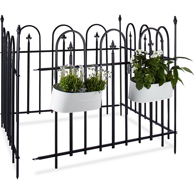 relaxdays gartenzaun metall 4er set goth online kaufen. Black Bedroom Furniture Sets. Home Design Ideas