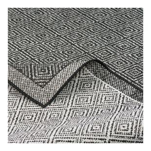 In- und Outdoor Teppich Beidseitig Flachgewebe Hampton Schwarz Meliert... 80x150 cm