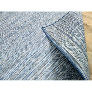 In- und Outdoor Teppich Beidseitig Flachgewebe Hampton Blau Meliert... 120x170 cm